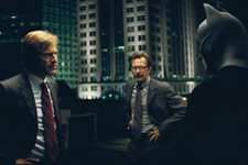 (from left) Aaron Eckhart, Gary Oldman and Christian Bale in The Dark Knight