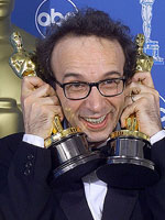 Roberto Benigni at the Academy Awards in 1999