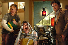 (from left) James Franco, Danny McBride and Seth Rogen in Pineapple Express