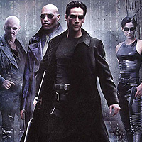 (from left) Joe Pantoliano, Laurence Fishburne, Keanu Reeves and Carrie-Anne Moss in The Matrix