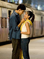(from left) Dev Patel and Freida Pinto in Slumdog Millionaire
