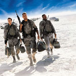 (from left) Mark Wahlberg, George Clooney and Ice Cube in Three Kings
