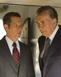 (from left) Kevin Bacon and Frank Langella in Frost/Nixon