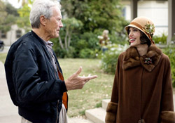Clint Eastwood and Angelina Jolie on the set of Changeling