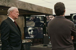 (from left) Michael Caine, Heath Ledger and Christian Bale in The Dark Knight