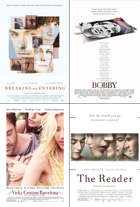 (clockwise from top left) The Weinstein Company\'s Breaking and Entering, Bobby, The Reader and Vicky Cristina Barcelona