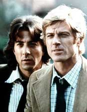 (from left) Dustin Hoffman and Robert Redford in All the President\'s Men
