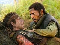 (from left) Ben Stiller aand Robert Downey Jr. in Tropic Thunder