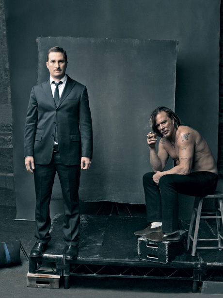 (from left) Darren Aronofsky and Mickey Rourke