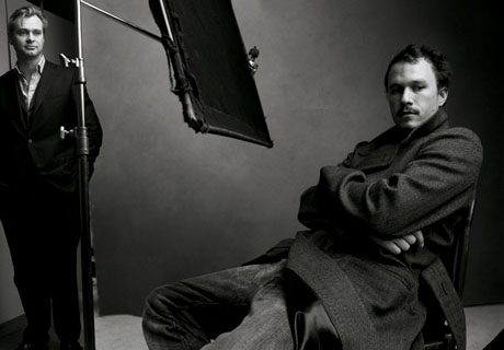 (from left) Christopher Nolan and Heath Ledger
