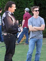 (from left) Danny McBride and David Gordon Green on the set of Eastbound & Down